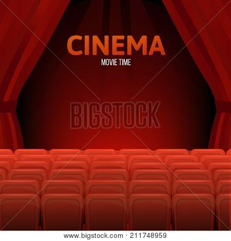 Cinema, movie time concept. Cinema or theater hall. Movie cinema premiere poster design with red curtains. Cinema hall, wood podium, red chairs, red curtain, widescreen. Vector illustration.