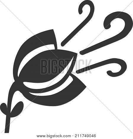 Flower in Wind - Fresh Air Scent Symbol. Sign or Graphic Element for Freshener and Smell Good Products. Simple Flat Silhouette Illustration with Stem, Pedals, Leaf and Blowing Decor Lines. Icon for Car, Home and Office Cleaning.