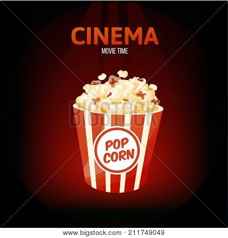 Cinema, movie time concept. Classic delicious popcorn in cardboard box. Delicious food, entertainment in your spare time, event. Vector illustration isolated.
