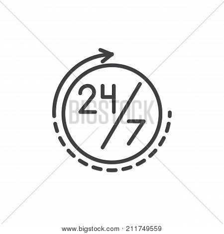 Twenty four seven, 24 hours a day and 7 days a week line icon, outline vector sign, linear style pictogram isolated on white. Round the clock service symbol, logo illustration. Editable stroke
