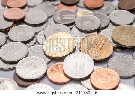 Romanian coins (Romanian currency) close up shot