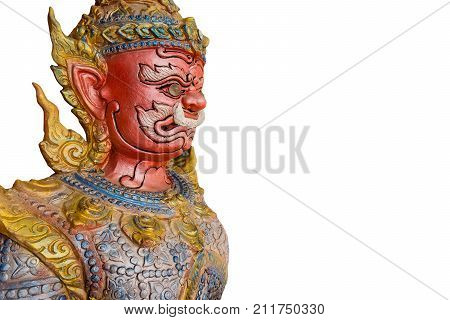 Thai ogre face isolated on white background