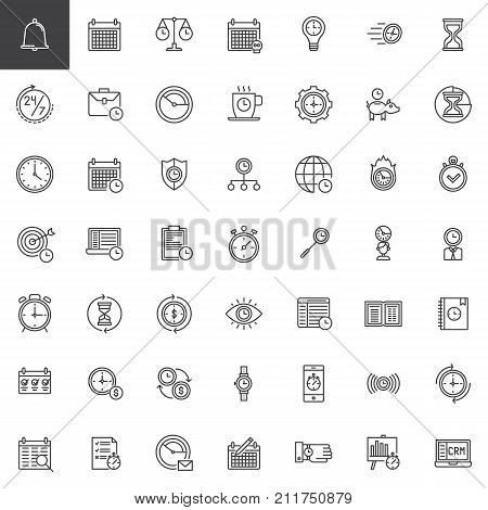 Time management line icons set, outline vector symbol collection, linear style pictogram pack. Signs, logo illustration. Set includes icons as calendar, stopwatch, hourglass, clock, , agenda time