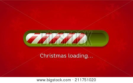Loading Christmas. Red and green web bar on dark red background with snowflakes. Greeting card, web, brochure or poster template. Vector Illustration.