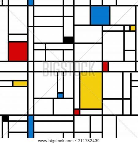 Abstract geometric colorful seamless pattern. Mondrian style. Vector illustration. Mosaic Piet Mondrian emulation.