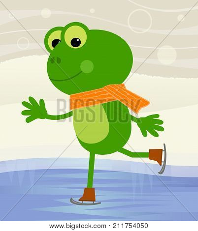 Cute frog with skates is ice skating at the pond. Eps10