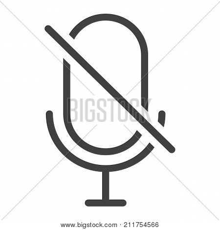 No Microphone line icon, web and mobile, no record sign vector graphics, a linear pattern on a white background, eps 10.