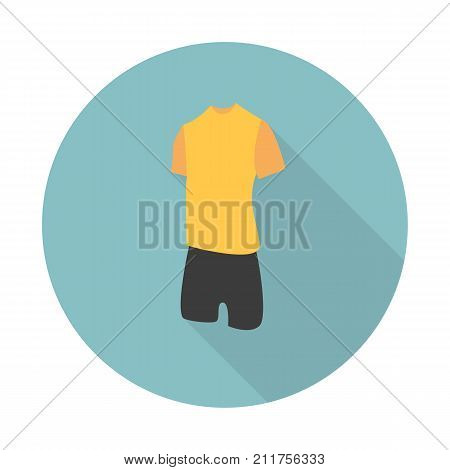 Football uniform flat icon. Simple filled football uniform flat vector icon. Flat vector icon soccer uniform with long shadow for web and mobile applications On white background.