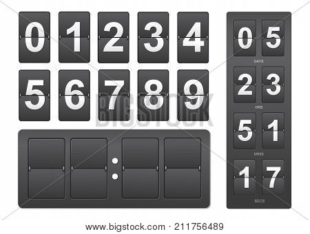 Countdown timer. Black mechanical scoreboard panel illustration on white background