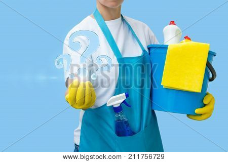Worker Answers Questions On Cleaning .