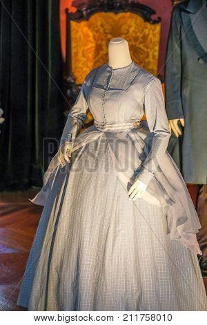 Asheville, North Carolina - March 4, 2017: Biltmore's Costume Exhibition, Designed For Drama: Fashio