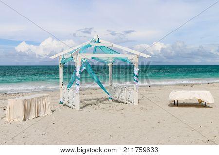 Wedding gazebo on the beach, Cuba, Varadero