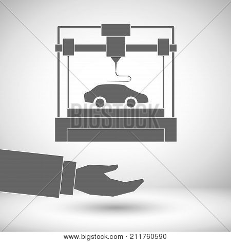 3d printer icon showing a desktop 3d printer, 3D modeling and scanning technology, automobile industry