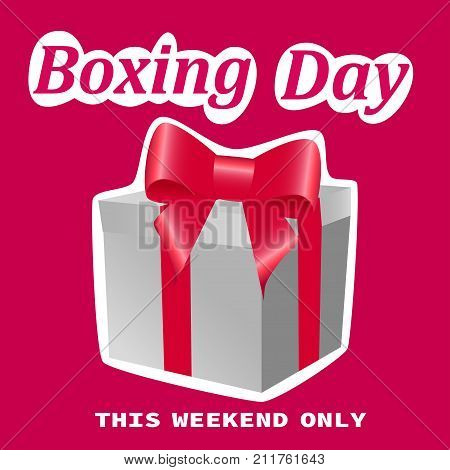 Boxing Day sale banner on a pink background