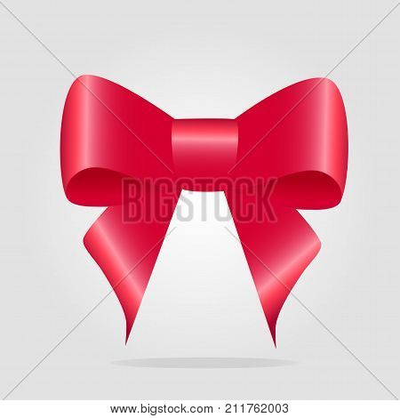 Red bow isolated. Pussy bright bowknot. Single gift knot of ribbon in flat style design. Overwhelming bow decorative element. Vector cartoon illustration of bow and ribbon. Classical bow