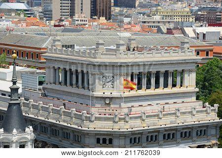Edificio de Las Cariatides English: Caryatid Building, Photo taken from top of Circulo de Bellas Artes, Madrid, Spain. poster