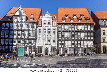 HILDESHEIM, GERMANY - OCTOBER 15, 2017: Historic buildings at the central market square of Hildesheim Germany