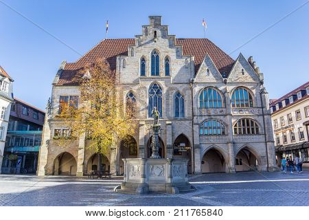 HILDESHEIM, GERMANY - OCTOBER 15, 2017: City hall building at the market square of Hildesheim Germany