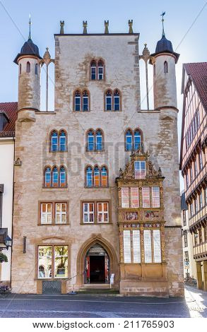 HILDESHEIM, GERMANY - OCTOBER 15, 2017: Front view of the historic Tempelhaus building in Hildesheim Germany