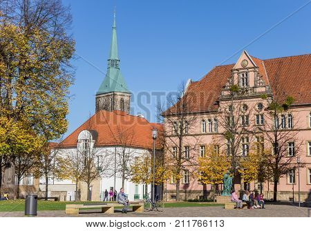 HILDESHEIM, GERMANY - OCTOBER 15, 2017: People enjoying the autumn sun in Hildesheim Germany
