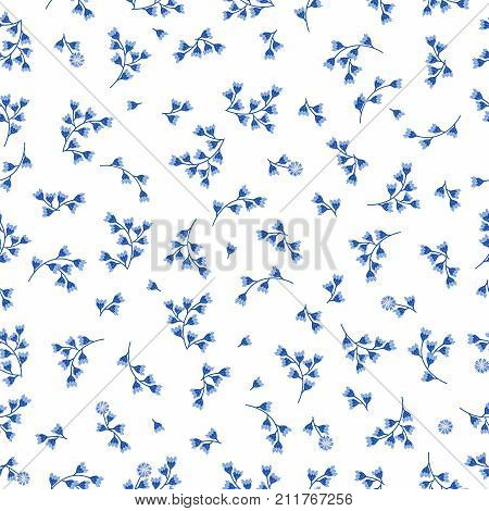 Floral seamless pattern background for textiles porcelain fabric. Blue flowers of Cornflower. Delicate blue and white pattern in small buds.