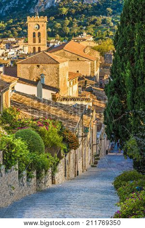 Pollenca old village on the island Palma Mallorca Spain