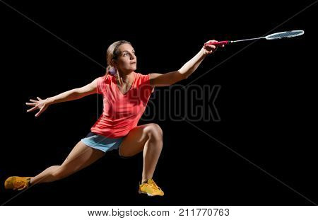 Woman badminton player (version without shuttlecock)