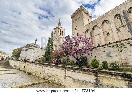 AVIGNON, FRANCE - APRIL 2, 2017: Palais des Papes Papal Palace in Avignon, Southern France