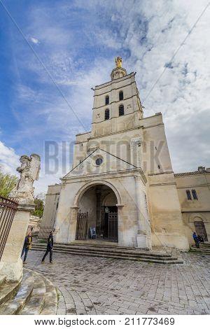 AVIGNON, FRANCE - APRIL 2, 2017: Notre Dames des Domes Church near Papal Palace, Avignon, France
