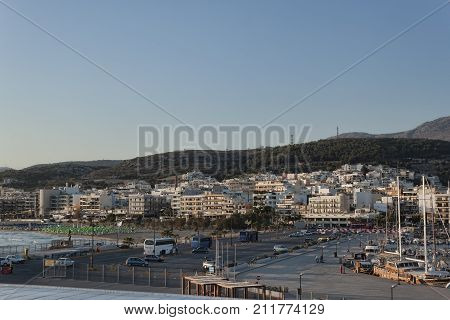 RETHYMNON CRETE GREECE - AUGUST 3 2013: Port of Rethymnon. View from the sea early in the morning