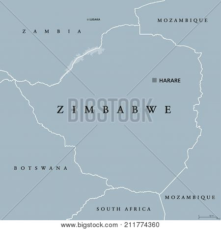 Zimbabwe political map with capital Harare, international borders and neighbors. Republic and landlocked country in South Africa. Former Southern Rhodesia. Gray illustration. English labeling. Vector.