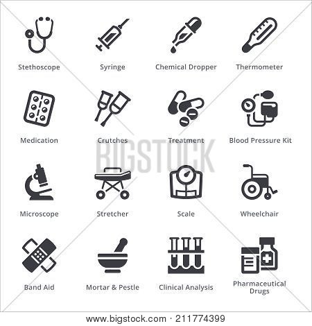 Medical Equipment & Supplies Icons Set 1 - Sympa Series | Black