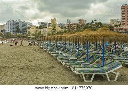 Evening view with Torre Bermeja Beach on Benalmadena coast on August 30 2017 in Malaga Andalucia province Spain.