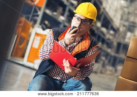 Manager In Warehouse. wholesale, logistic, people and export concept