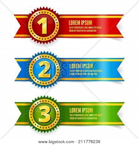 Red, blue and green with gold medal awards or quality sign icon, 3d looks vector award illustration with stars and ribbons for first second and third place