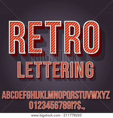 Retro Red Colored Vintage Text 3D Effects, Font Typeset Vector lettering set