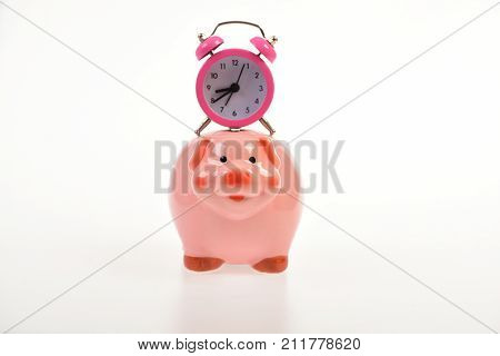 Cash Box With Financial Income. Piggy Bank With Alarm Clock.