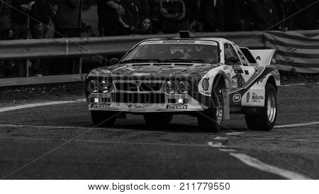 SAN MARINO, SAN MARINO - OTT 21 - 2017 :LANCIA RALLY 037 old racing car rally THE LEGEND 2017 the famous SAN MARINO historical race