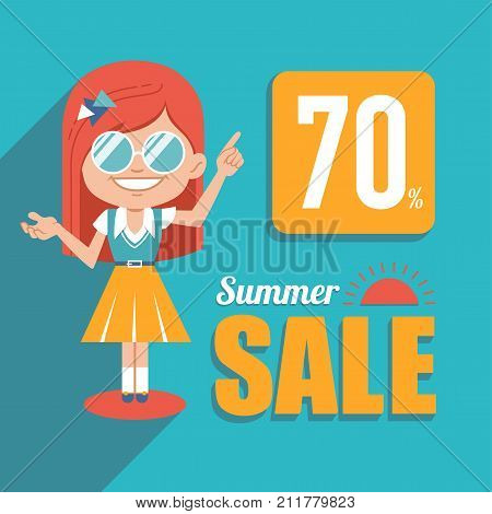 Hot summer sale banner. Advertising shopping illustration with girl in sunglasses. Big summer sale. Discount 70. Seasonal sale.Illustration for online shop, newsletter or email marketing, advertising