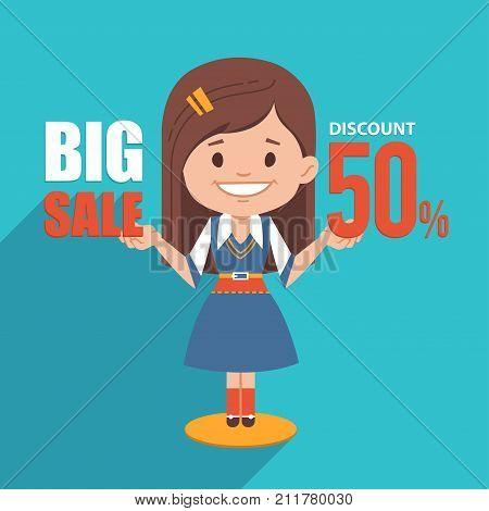 Big sale banner. Discount 50. Advertising illustration with pretty girl in business suit. Illustration for online shop, newsletter or email marketing, advertising, tag