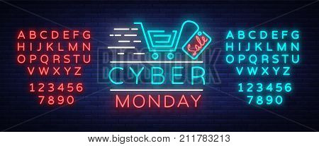 Cyber Monday concept banner fashionable neon style, luminous signboard, nightly advertising advertisement of sales rebates of cyber Monday. Vector illustration. Editing text neon sign. Neon alphabet.