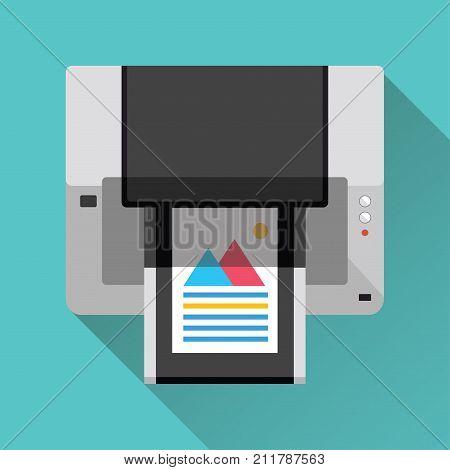 Multifunction Printer icon. Flat design. Vector illustration.