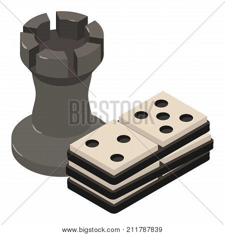 Chess icon. Isometric illustration of chess vector icon for web