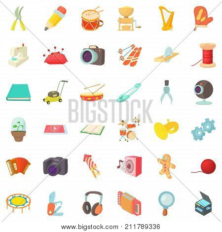 Human hobby icons set. Cartoon style of 36 human hobby vector icons for web isolated on white background