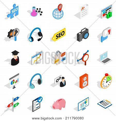 Academic degree icons set. Isometric set of 25 academic degree vector icons for web isolated on white background