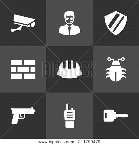 Collection Of Security Man, Virus, Firewall And Other Elements.  Set Of 9 Procuring Icons Set.