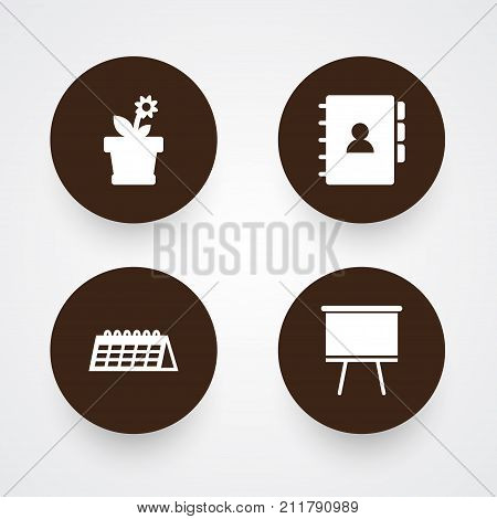 Collection Of Book, Date, Blackboard And Other Elements.  Set Of 4 Office Icons Set.