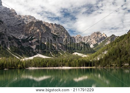 Mountain reflections at Lake Prags South Tyrol Italy