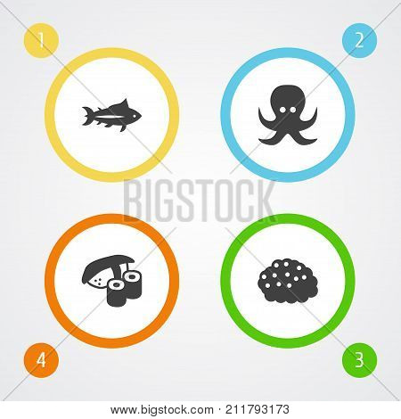 Collection Of Tunny, Roe, Japanese Roll And Other Elements.  Set Of 4 Seafood Icons Set.
