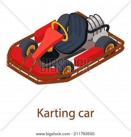 Karting car icon. Isometric illustration of karting car vector icon for web